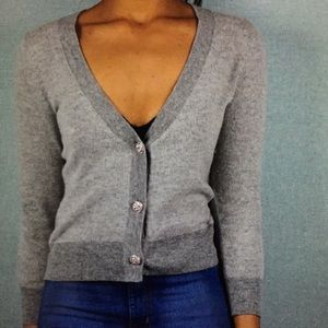 J Crew Crystal Button Bird's Eye Cardigan
